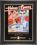 Boxing Collectibles:Autographs, Larry Holmes Signed Trunks and Neiman Print Lot of 2....