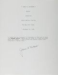 Autographs:Authors, James A. Michener, American Writer. Typed Quote Signed. Fine....