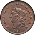 Large Cents, 1831 1C Medium Letters MS64 Red and Brown NGC. N-3, R.1....