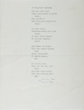 Autographs:Authors, Marianne Moore, American Modernist Poet. Typed Poem Signed. Verygood....