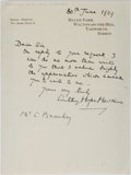 Autographs:Authors, Anthony Hope Hawkins, British Novelist and Playwright. Autograph Letter Signed. Very good....