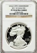 Modern Bullion Coins, 2011-W $1 One Ounce Silver American Eagle 25th Anniversary PR70Ultra Cameo NGC. NGC Census: (5855). PCGS Population (2615)...