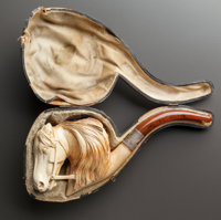 A MEERSCHAUM PIPE OF A HORSE HEAD WITH ORIGINAL CASE Late 19th century 7-1/2 inches long (19.1 cm)