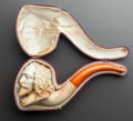 Decorative Arts, Continental, A MEERSCHAUM PIPE OF SHAKESPEARE WITH ORIGINAL CASE. Late 19thcentury. 8 inches long (20.3 cm). ...