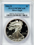 Modern Bullion Coins, 2004-W $1 One Ounce Silver Eagle PR70 Deep Cameo PCGS. PCGSPopulation (1847). NGC Census: (9104). Numismedia Wsl. Price f...