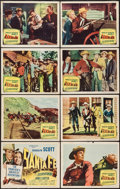 "Movie Posters:Western, Santa Fe (Columbia, 1951). Lobby Card Set of 8 (11"" X 14""). Western.. ... (Total: 8 Items)"