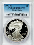 Modern Bullion Coins, 2003-W $1 One Ounce Silver Eagle PR70 Deep Cameo PCGS. PCGSPopulation (1609). NGC Census: (7768). Numismedia Wsl. Price f...