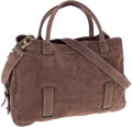 Luxury Accessories:Bags, Theory Mauve Suede Top Handle Bag with Removable Shoulder Strap....