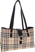 Luxury Accessories:Bags, Burberry Classic Check Tote Bag with Black Leather Trim. ...