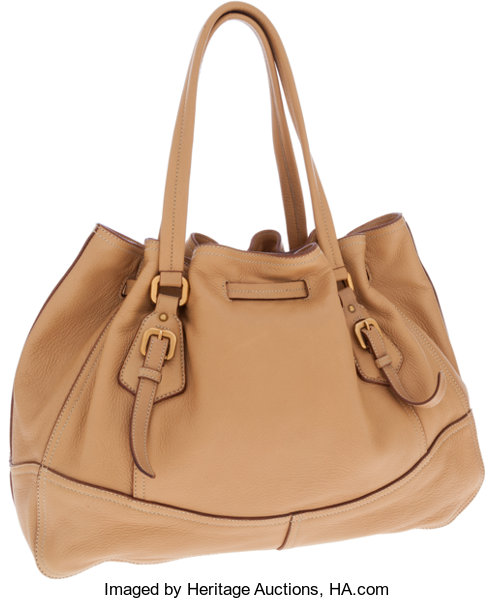 b51646a1c8ed Prada Tan Deerskin Leather Large Drawstring Tote Bag. ... Luxury ...