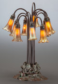 Art Glass:Tiffany , TIFFANY STUDIOS BRONZE AND FAVRILE GLASS TEN-LIGHT LILYLAMP. Circa 1910, Nine shades with engraved Tiffany sign...