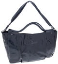 Luxury Accessories:Bags, Theory Navy Patent Leather Oversize Tote Bag with Shoulder Strap. ...