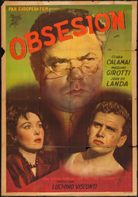 """Ossessione (Pan European Film, Early 1950s). Argentinean Poster (29"""" X 43""""). Thriller"""