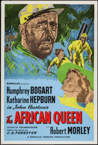 """The African Queen (Romulus, R-1950s). British One Sheet (27"""" X 40""""). Adventure"""