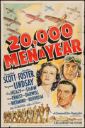 "Movie Posters:Action, 20,000 Men a Year (20th Century Fox, 1939). One Sheet (27"" X 41""). Action.. ..."