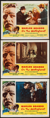 """On the Waterfront (Columbia, 1954). Lobby Cards (3) (11"""" X 14"""" and (1) 11"""" X 13.75""""). Academy Award..."""