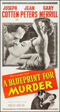 "Movie Posters:Crime, A Blueprint for Murder (20th Century Fox, 1953). Three Sheet (41"" X79""). Crime.. ..."