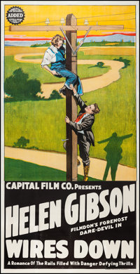 "Wires Down (Capital Film Co., 1920). Three Sheet (41"" X 80.5""). Western"