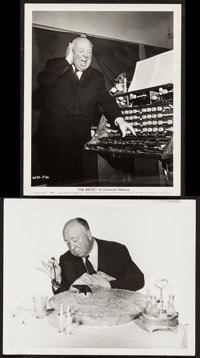 """Alfred Hitchcock in The Birds (Universal, 1963). Photos (2) (8"""" X 10""""). Hitchcock. ... (Total: 2 Items)"""