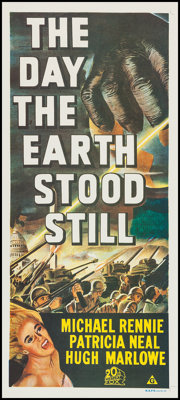 "The Day the Earth Stood Still (20th Century Fox, R-1972). Australian Daybill (13"" X 30""). Science Fiction"