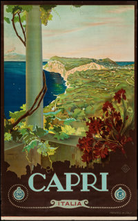 """Capri, Italy Travel Poster by Cario Borgoni (ENIT, Late 1920s-Early 1930s). Poster (25.5"""" X 40.5""""). Miscellane..."""