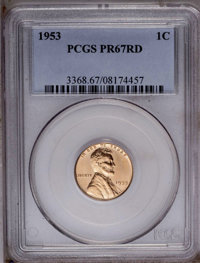 1953 1C PR67 Red PCGS. PCGS Population (168/20). NGC Census: (9/5). Mintage: 128,800. Numismedia Wsl. Price: $70. (#3368...