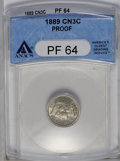 Proof Three Cent Nickels: , 1889 3CN PR64 ANACS. NGC Census: (195/583). PCGS Population (292/650). Mintage: 3,436. Numismedia Wsl. Price: $336. (#3786)...