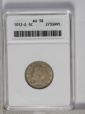 Liberty Nickels: , 1912-D 5C AU58 ANACS. NGC Census: (19/526). PCGS Population (42/583). Mintage: 8,474,000. Numismedia Wsl. Price: $167. (#38...