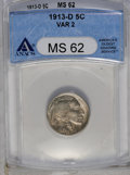 Buffalo Nickels: , 1913-D 5C Type Two MS62 ANACS. NGC Census: (70/378). PCGS Population (53/640). Mintage: 4,156,000. Numismedia Wsl. Price: $...