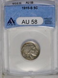Buffalo Nickels: , 1915-S 5C AU58 ANACS. NGC Census: (34/345). PCGS Population (60/502). Mintage: 1,505,000. Numismedia Wsl. Price: $367. (#39...