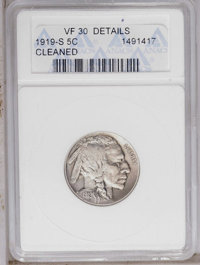 1919-S 5C --Cleaned--ANACS. VF30 Details. NGC Census: (35/433). PCGS Population (12/594). Mintage: 7,521,000. Numismedia...