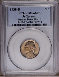 1938-D 5C MS66 Full Steps PCGS. Ex:Omaha Bank Hoard. PCGS Population (123/19). NGC Census: (2/0). (#84001)...(PCGS# 8400...