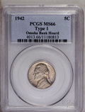 1942 5C Type One MS66 PCGS. Ex: Omaha Bank Hoard. PCGS Population (116/4). NGC Census: (81/96). Mintage: 49,818,600. Num...