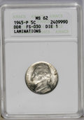 1945 5C Doubled Die Reverse, Die1--Laminations--MS62 Full Steps ANACS. FS-030. NGC Census: (0/0). PCGS Population (0/2)...