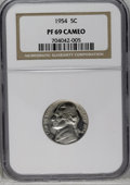 Proof Jefferson Nickels: , 1954 5C PR69 Cameo NGC. NGC Census: (43/0). PCGS Population (4/0). Numismedia Wsl. Price: $250. (#84186)...