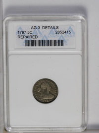 1797 H10C 15 Stars--Repaired-- ANACS. AG3 Details. NGC Census: (0/218). PCGS Population (1/157). Mintage: 44,527. Numism...