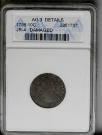 1798 10C Large 8--Damaged--ANACS. AG3 Details. JR-4. NGC Census: (0/56). PCGS Population (1/54). Mintage: 27,550. Numism...