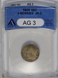 Early Dimes: , 1805 10C 4 Berries AG3 ANACS. JR-2. NGC Census: (0/275). PCGS Population (10/293). Mintage: 120,780. Numismedia Wsl. Price:...