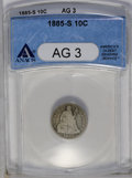 Seated Dimes: , 1885-S 10C AG3 ANACS. NGC Census: (0/76). PCGS Population (0/44). Mintage: 43,690. Numismedia Wsl. Price: $244. (#4695)...