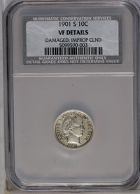 1901-S 10C --Damaged, Improperly Cleaned--NCS. VF Details. NGC Census: (0/43). PCGS Population (2/52). Mintage: 593,022...