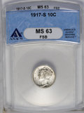 Mercury Dimes: , 1917-S 10C MS63 Full Bands ANACS. NGC Census: (46/111). PCGS Population (66/305). Mintage: 27,330,000. Numismedia Wsl. Pric...