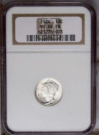 1924 10C MS66 Full Bands NGC. NGC Census: (35/11). PCGS Population (58/11). Mintage: 24,010,000. Numismedia Wsl. Price:...