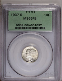 1937-S 10C MS66 Full Bands PCGS. PCGS Population (214/54). NGC Census: (82/30). Mintage: 9,740,000. Numismedia Wsl. Pric...