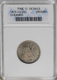 1875-CC 20C --Cleaned-- ANACS. Fine 12 Details. NGC Census: (8/402). PCGS Population (8/484). Mintage: 133,290. Numismed...