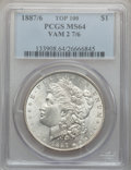 Morgan Dollars, 1887/6 $1 VAM-2, Overdate MS64 PCGS. Top-100. PCGS Population(17/4). ...