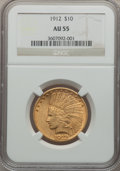 Indian Eagles: , 1912 $10 AU55 NGC. NGC Census: (102/6481). PCGS Population(205/4806). Mintage: 405,083. Numismedia Wsl. Price for problem ...