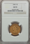 Liberty Half Eagles: , 1848 $5 AU55 NGC. NGC Census: (49/125). PCGS Population (32/42).Mintage: 260,775. Numismedia Wsl. Price for problem free N...