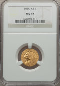 Indian Quarter Eagles: , 1915 $2 1/2 MS62 NGC. NGC Census: (3477/3170). PCGS Population(1553/2031). Mintage: 606,000. Numismedia Wsl. Price for pro...