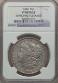 Morgan Dollars: , 1894 $1 -- Improperly Cleaned -- NGC Details. VF. NGC Census:(42/2674). PCGS Population (70/3837). Mintage: 110,972. Numis...