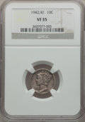 Mercury Dimes, 1942/41 10C VF35 NGC. NGC Census: (140/864). PCGS Population(279/1039). Mintage: 205,432,336. Numismedia Wsl. Price for pr...